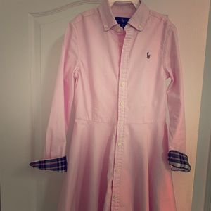 Ralph Lauren PInk Cotton Oxford Long sleeved Dress